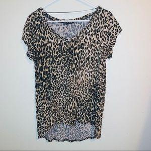 Cable & gauge cheetah print shirt